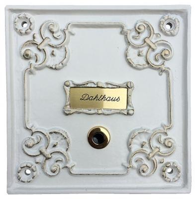 Color: White, Gold Patina with a frame for an extra name plate.