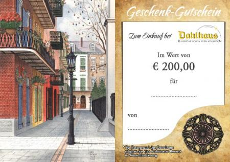 Dahlhaus 200 € Gift Coupon  Nr.GS200