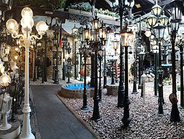 Visit our unique showroom for outdoor lights and lanterns.